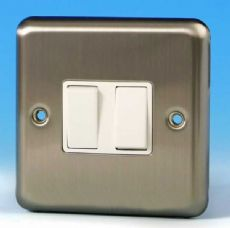 Varilight 2 Gang Intermediate 10A Rocker Light Switch Brushed Matt Chrome White Insert XS77W